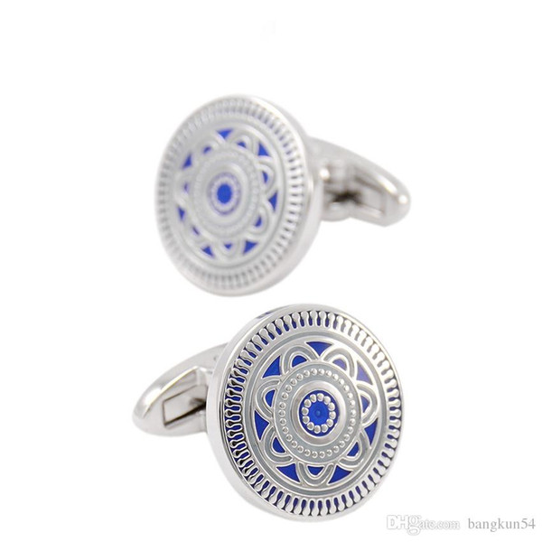 Free Shipping-Europe's most popular Blue enamel boutique business cufflinks