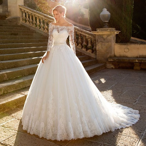 2018 Modest Off Shoulder Lace Appliques Wedding Dresses Long Sleeve Crystal Belt Princess Tulle Ball Gown Sweep Trian Plus Size Bridal Gowns