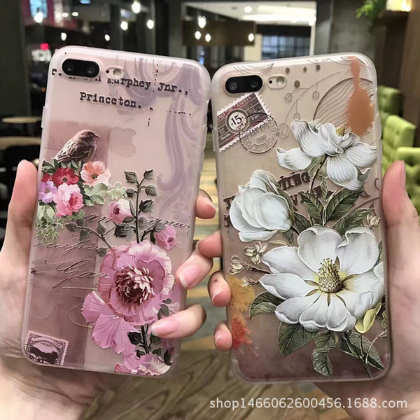 For apple iPhone 7 7 plus 6 6s 6s plus art painting embossed flowers Transparent tpu soft Silicon thin back cover phone case 24 color