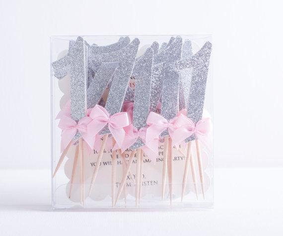 Atacado- 12Pcs / Lot Gold glitter número rosa cupcake topper 1º número de aniversário Bolo cupcake topper Baby Shower Party Decoração suprimentos