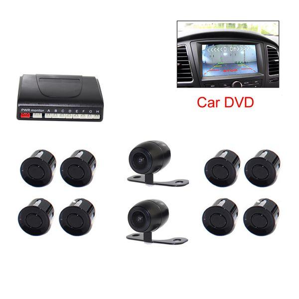 Coche DVR Video Parking Sensor PZ600-8 8 Sensores 2 Cámara delantera trasera TFT LCD DVD Espejo retrovisor Monitor BIBI Distancia de barrera