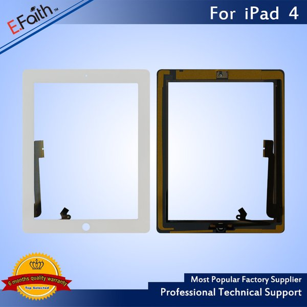 Hot item-For iPad 4 White Touch Screen Digitizer with Home Butoon+Adhesive & Free DHL Shipping