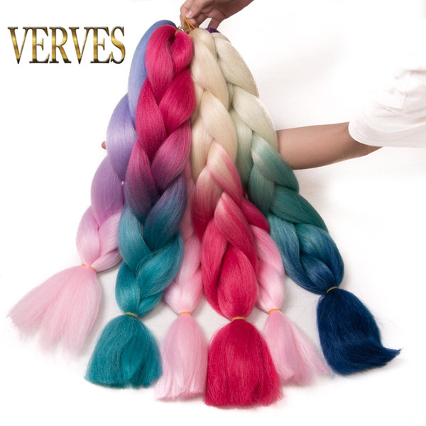 best selling VERVES 100g pcs synthetic hair Extensions Purple Braiding Hair ombre Two Tone High Temperature resistance Fiber expression braiding hair