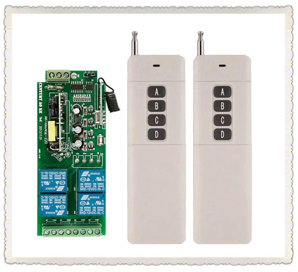Wholesale- Long Transmitter AC85v~250V 110V 230V 4CH Wireless Remote Control Switch 220V Relay Output Radio RF Transmitter Receiver