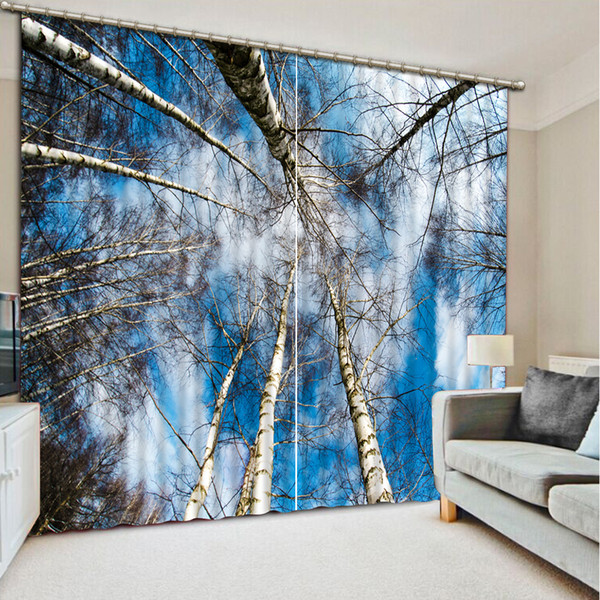 Photo Customize size blue forest custom curtain fashion decor home decoration for bedroom