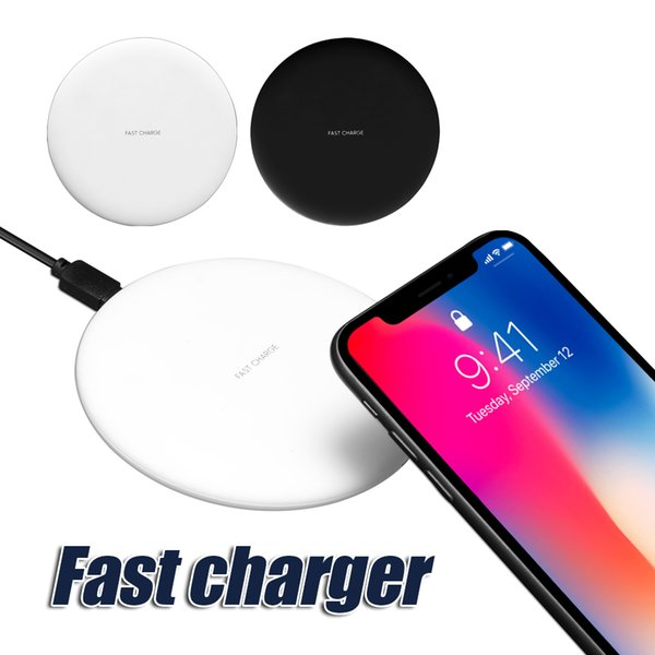 top popular New Arrival For iPhone X Wireless Charger Fast Charger Qi Pad Charging For Samsung Galaxy Note 8 S8 Note 5 with Retail Box 2020