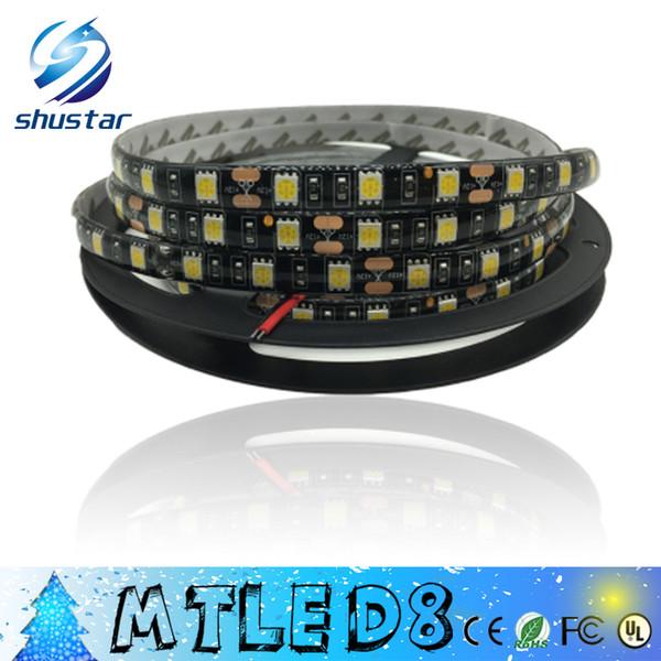 DHL directo de fábrica 5M SMD 5050 RGB / Blanco Negro PCB 300 LED 60led / m DC 12V Tira ligera flexible impermeable IP65