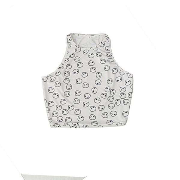 Gros-New Summer Style Blanc Alien Motif Halter Top Femmes Sexy Halter Crochet Bustier Crop Top Coton Solide Court Haut De Mode X16