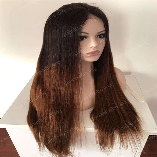 celebrity wigs lace front wig ombre 1bT4 two tone brazilian virgin human hair yaki straight full lace wigs baby hair free shipping