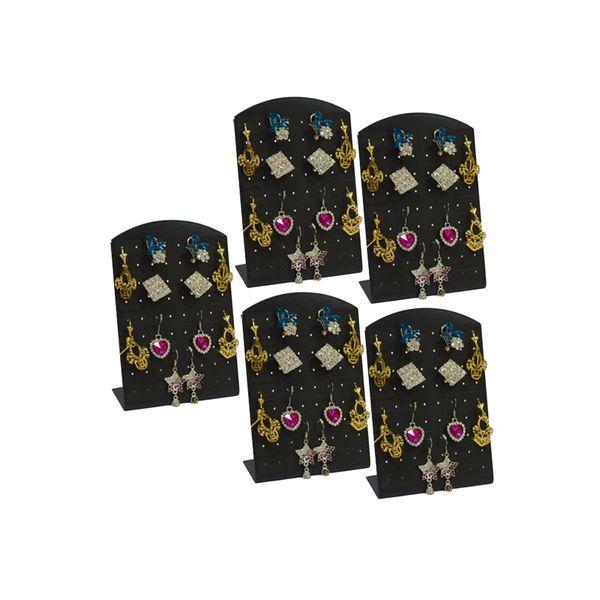 Wholesale 5Pcs Black Acrylic 36Pairs Fashion Earrings Display Stand Rack Mini Earring Display Organizer Storage Holder StandLow