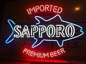 New Tat tire Neon Beer Sign Bar Sign Real Glass Neon Light Beer Sign Sapporo Fish Imported Premium Beer Neon 22x12
