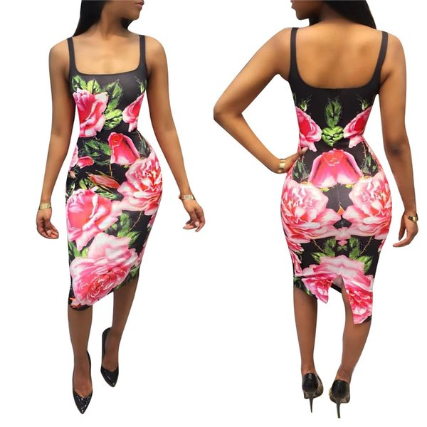 New arrival Women Sexy Print beach dress Slim dress lady sleeveless Vest skirt Bodycon pencil dress