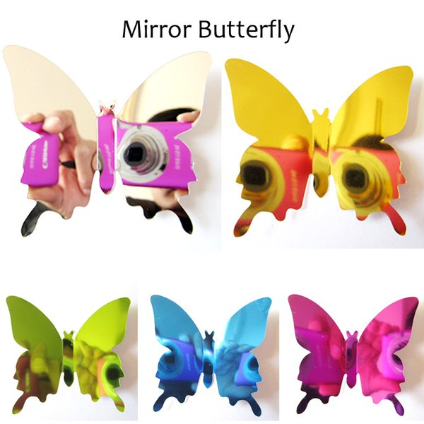 top popular 12pcs lot PVC DIY Wall Sticker New 3D Mirror Butterfly Sticker for Wall Window Party Supplies 2021