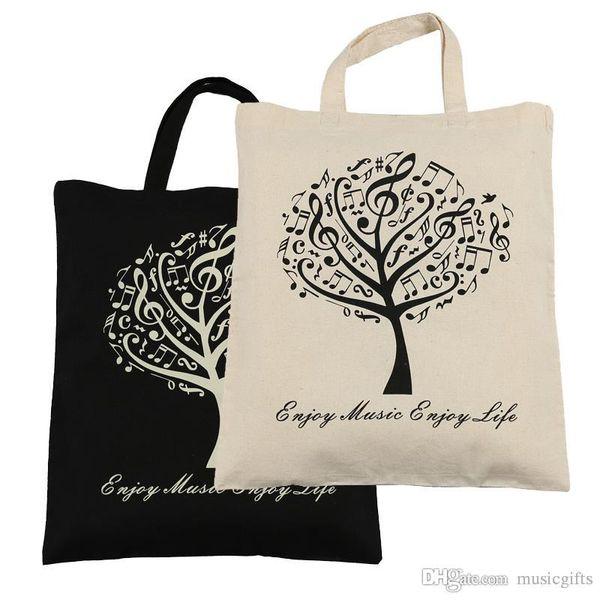 top popular Hot Selling Cotton Handbag Cotton Bag Shopping bags 2pcs Music Tree Cotton Bag- Black and Beige 2021