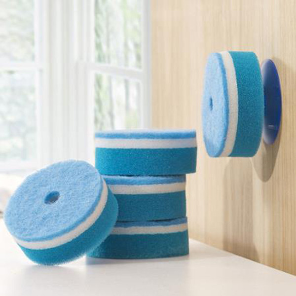 5pcs/sets sponge Strong Decontamination double faced Kitchen Dish Bowl Washing cleaning cloth dish towel+1 PCS vacuum chuck