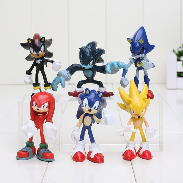 6pcs/set 5-8cm Sonic The Hedgehog Sonic Shadow Tails Knuckles PVC Action Figure Collectible Model Toys