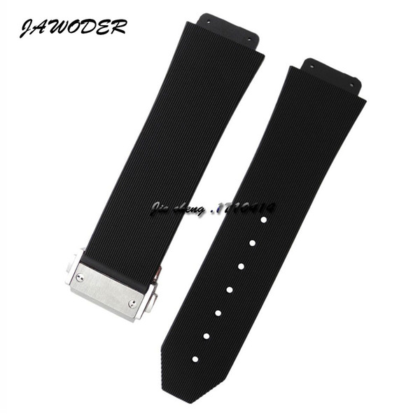 top popular JAWODER Watchband 23mm 26mm Men Stainless Steel Deployment Clasp Black Diving Silicone Rubber Watch Band Strap for HUB Big Bang 2020