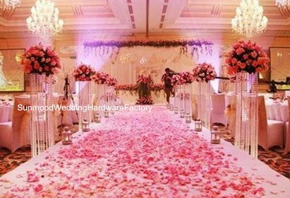 Luxury large chandelier walkway stand tall plastic chandeliers flower stand for weddings