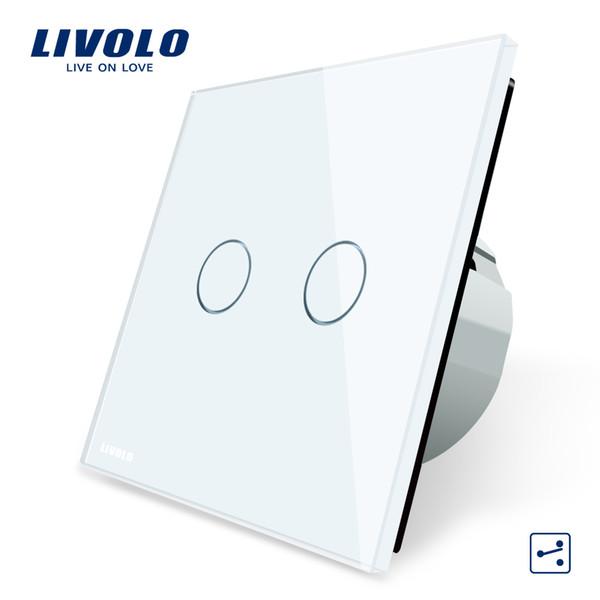 Fabricant, Commutateur tactile standard européen EU Livolo, Commande à 2 voies, Panneau en verre cristal 3 couleurs, Interrupteur de lampe murale, C702S-1/2/3/5