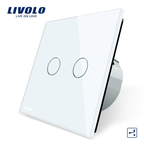 Produttore, Livolo Standard EU Touch Switch, 2 Gang 2 Way Control, 3 colori Crystal Glass Panel, Interruttore luce parete, C702S-1/2/3/5