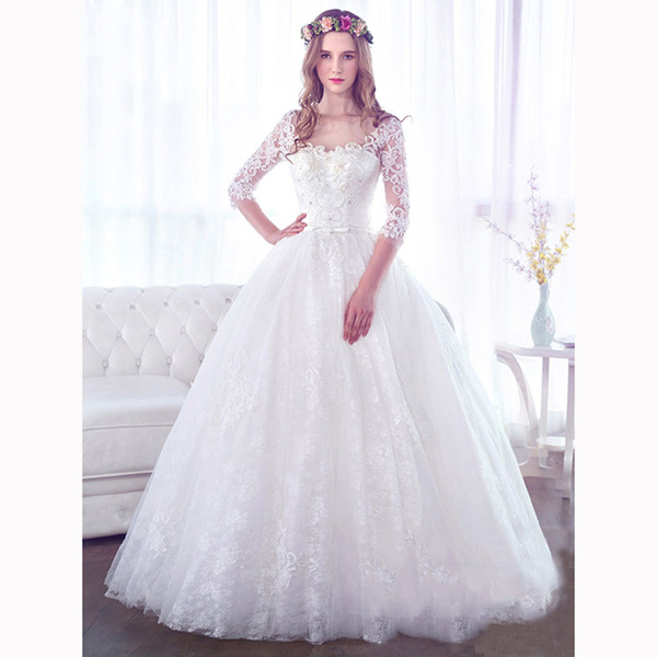 Discount Long Sleeve Lace Wedding Dresses White Pearls Applique ...