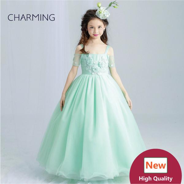 Emerald green dress Girls pageant dresses High quality designer dresses real photo Fancy dress China wedding dress
