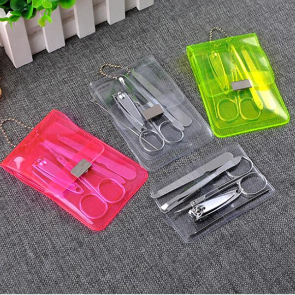 Whole ale 5pc tainle teel nail care et pedicure ci or tweezer knife ear pick utility nail clipper kit manicure et