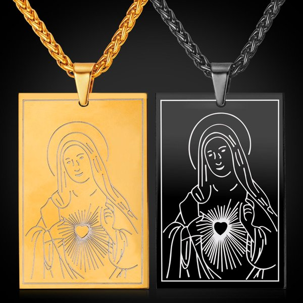 U7 New Blessed Virgin Mary Mother of God Pendant Necklace Gold/Black Gun Plated Rope Chain Dog Tags for Women/Men Cross Jewelry