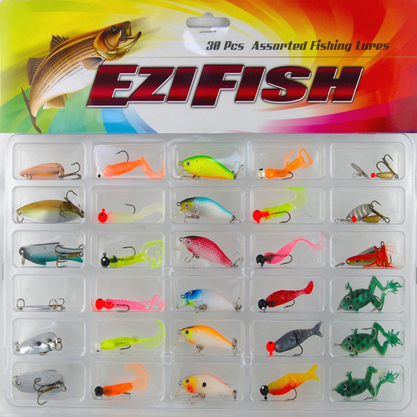 Fishing Lure Set 30Pcs/card Plastic Jig Head Spin Spinner crank bait Spoon Sequins Hard soft Mix Bait with Hooks Fishing tackle