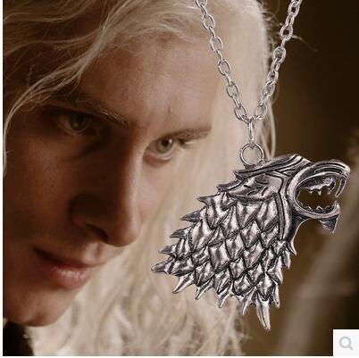 Chain Necklace Wholesale Movie Ice song film and fire Thrones Stark game wolf silver alloy metal necklace jewelry Pendants Necklaces