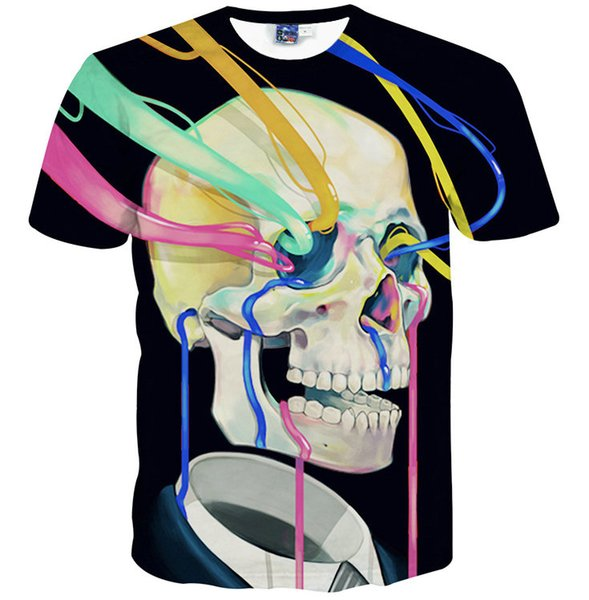 Skull sucker T shirt Colorful straw scrawl short sleeve gown Cool leisure tees Street printing clothing Unisex cotton Tshirt