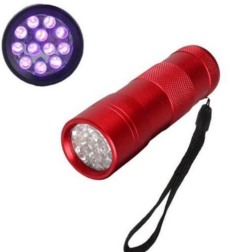 395-400NM Ultra Violet UV Mini lampe de poche Portable 12 LED UV Scorpion Détecteur Finder Blacklight (Rouge)