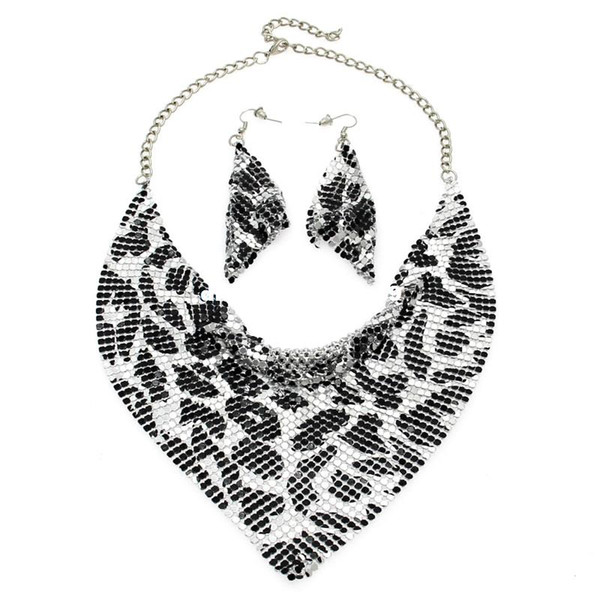 MANILAI Indian Jewelry Set Chic Style Shining Metal Slice Bib Choker Necklaces Earring Party / Wedding Fashion Jewelry Sets 2017