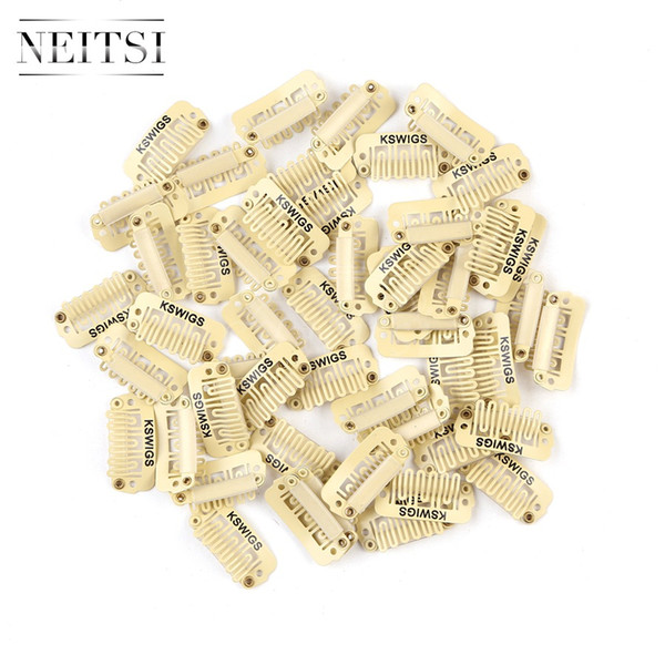 Neitsi Professional 2.3cm Metal U Shape Snap Clips For DIY Clip In Hair Extensions Blond# 100pcs/lot
