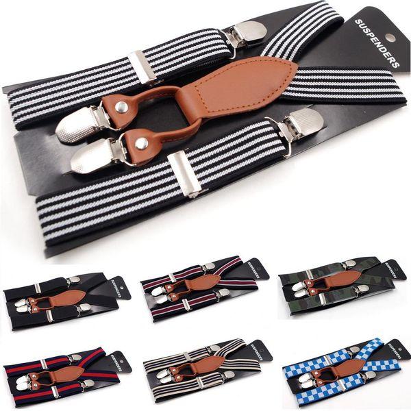 2017 New Kids Boys Girls Stripe Suspender Clip Children Mix Style Leather Elastic Pants Folder Unisex Rainbow Strape Fashion Brace