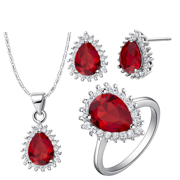 Ladies leaves 925 Silver pendant Earrings ring Women Gift word Jewelry sets suits custom-made suit and high-grade teardrop shaped diamond