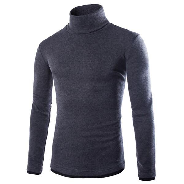 erzhang / Atacado 2016 New Style Básico homens encabeça Turtleneck malha pulôver primavera Autumn Slim Fit Elastic Homme blusas sólido Mens malhas