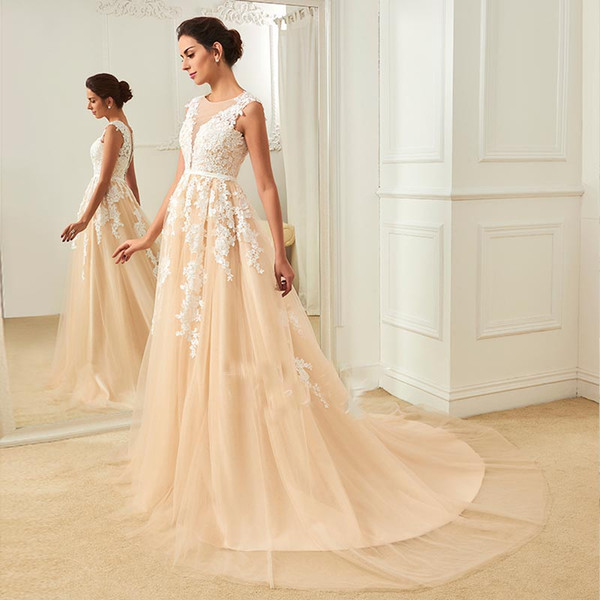 2018 Real Elegant Champagne A Line Wedding Dresses Applique Tulle Sheer Covered Buton Back Outdoor&Church Bridal Gown Sweep Train