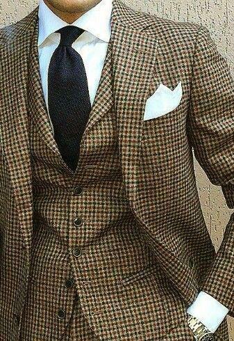 2018 New Coat Pant Design Houndstooth Mens Tuxedos Groom's Wear Tuxedo Wedding Suits For Men Blazer Masculino Plus Size(suit+vest+pant)1202