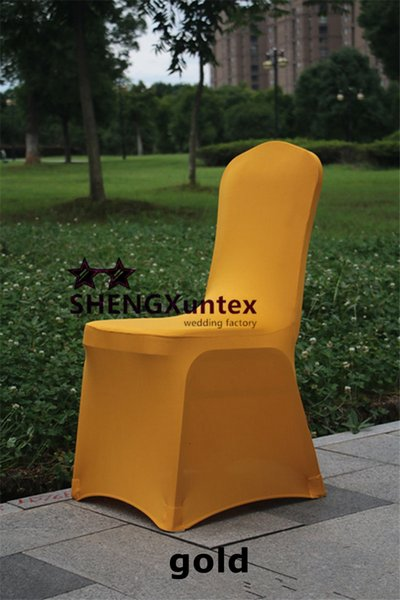 Lycra Spandex Chair Cover For Wedding Hotel Decoration Free Shipping - Gold Color