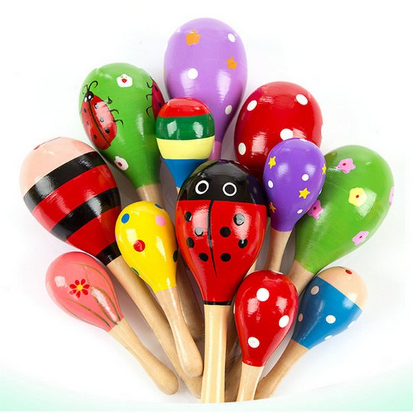 Baby Wooden Toy Rattle Baby cute Rattle toys Orff musical instruments Educational Toys baby Sand ball sand hammer 12-20cm