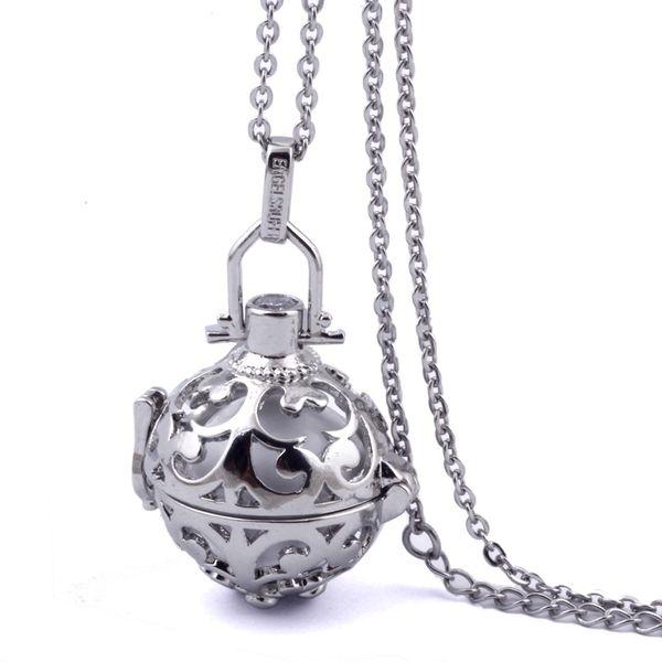 Al por mayor-316L acero inoxidable Stee Chain Jaula Angel Ball Necklace 7 colores Ball bola del embarazo del metal en colgantes collar del carillón del bebé