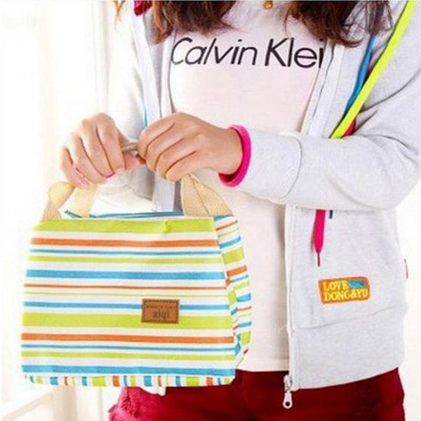 2017 new Lunch Totes Bag Thermal Insulated Portable Cool Canvas Stripe Carry Case Picnic high quality free shipping