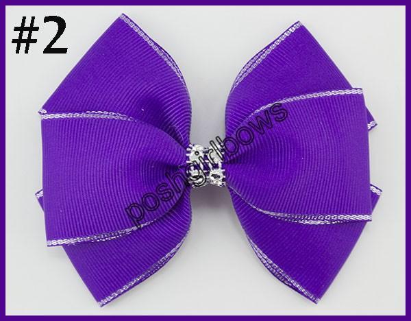 free shipping 50pcs 4.5''double layered hair bows silver edge Handmade rhinestone Hair Bows silver edge girl hair bows with clips