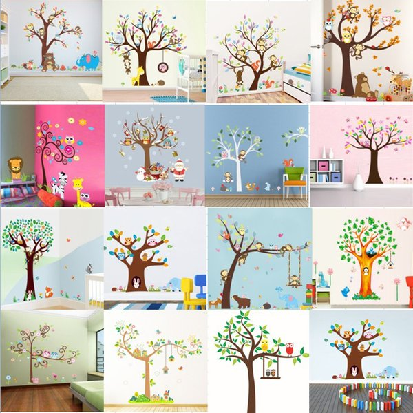 15 Styles Cartoon Forest Animals Owl Monkey Bear Elephant Tree Wall Stickers For Kids Rooms Boys Children Bedroom Wall Decals Home Décor