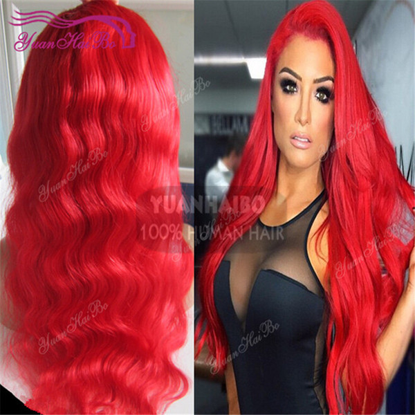 Celebrity 8a grade red color body wave brazilian remy hair 100 human hair full lace wig free shipping