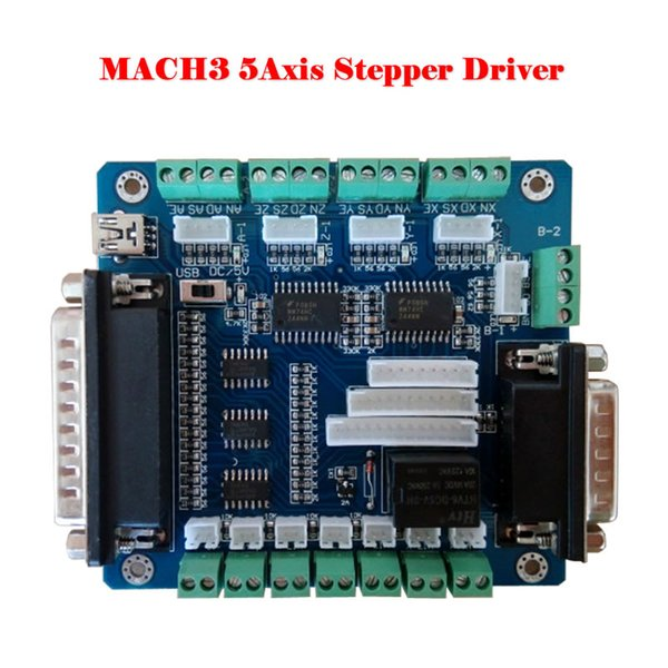 5-Axis CNC Stepper Motor Driver Controller Breakout LPT Board MACH3 Interface