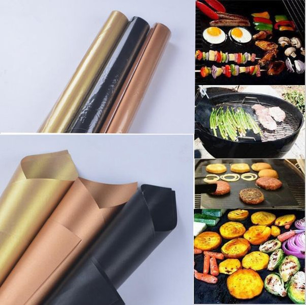 Barbecue Grilling Liner BBQ Copper Grill Mat Portable Non-stick and Reusable 33*40CM 0.2MM Black Gold BBQ Grill Mat KKA1813