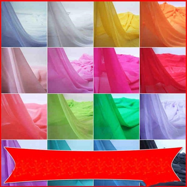 Lightweight Sheer Chiffon Material Summer Garment Dress Fabric Solid Color Width 150cm Cheap 37 Colors Available