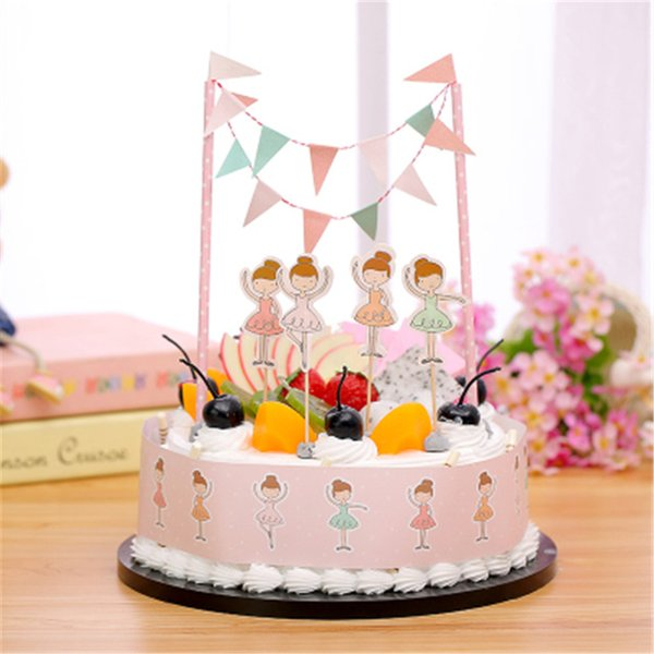 wholesale 1set ballet girl birthday cake topper bunting for girls happy birthday party decoration supplies - Wholesale Cake Decorating Supplies